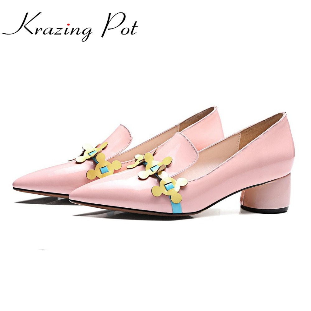 Krazing Pot 2017 fashion brand shoes patent genuine leather slip on pointed toe preppy style flower med heels women pumps L12 2017 shoes women med heels tassel slip on women pumps solid round toe high quality loafers preppy style lady casual shoes 17