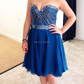 Fast Delivery Blue Chiffon Cocktail Dress Shiny Crystals Beaded Short Prom Party Gowns 2017 Real Sample