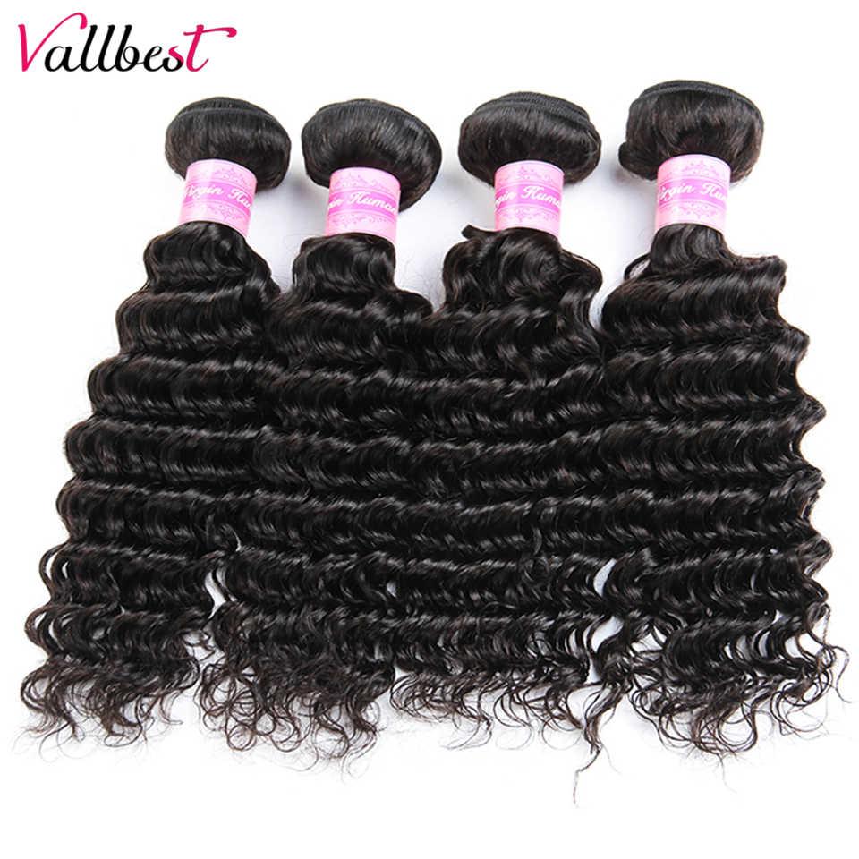 Vallbest 4 пучка глубокая волна перуанские накладные волосы пучки натуральный цвет не Реми человеческие волосы для наращивания 8-28 дюймов Бесплатная доставка