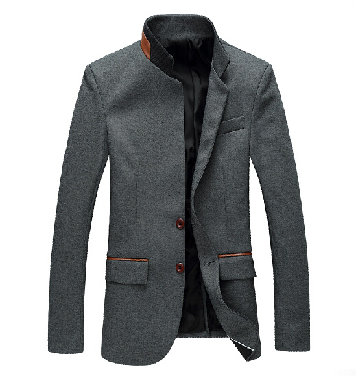 Мандарин Воротник Блейзер Мужчины Серый Однобортный Свадебные Мужские Slim Fit Blazer Куртка Корейский Стиль Азиатский Размер M-6XL