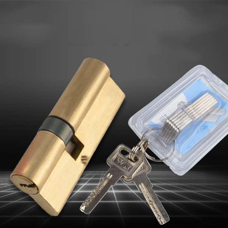 Brass Cylinder 80 mm (40+40) for High Security Door Lock Locks chic scoop collar long sleeve hit color plus size dress for women