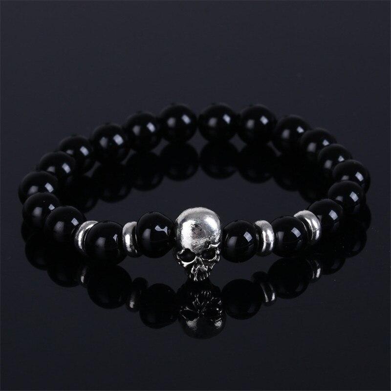 Men gift Skull Bracelet pulseras mujer buddha beads bracelet elastic charm bracelet lava natural stone for men and women