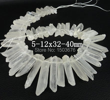 Approx 48pcs/strand of Raw Crystal Quartz Top Drilled Stick point Beads ,Rock Crystal stick Tusk point pendant Beads