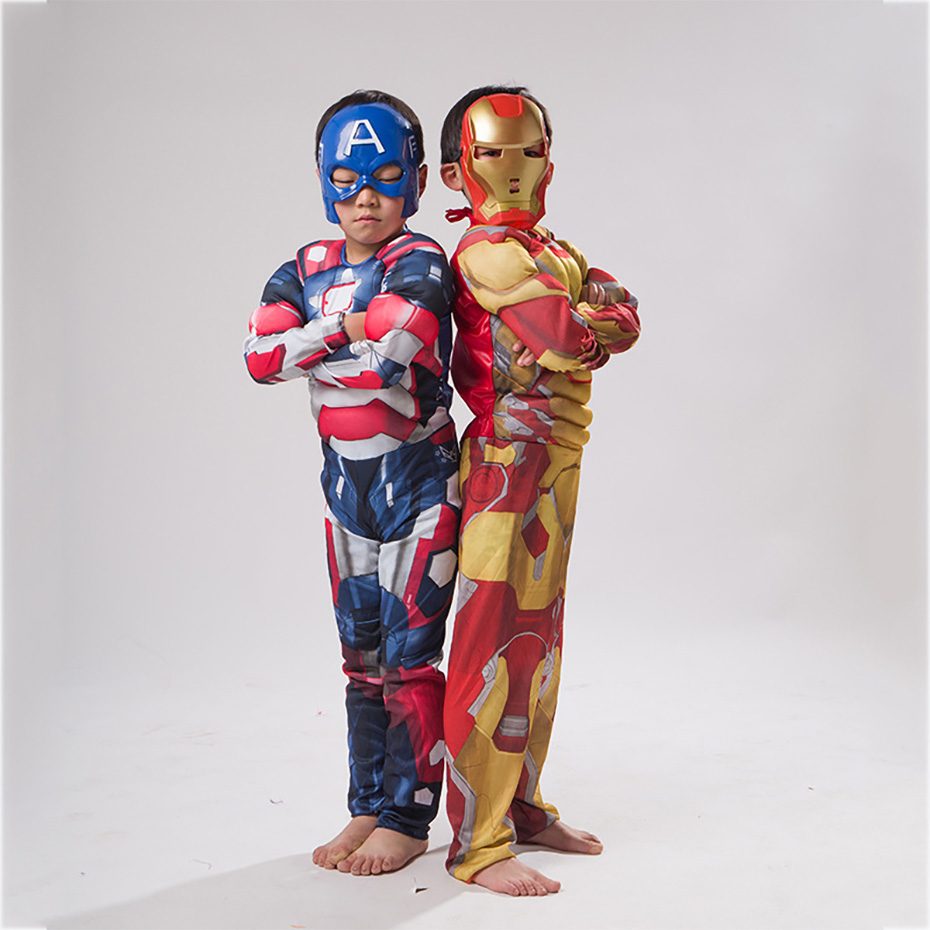 Children's Iron Man Muscle Clothes Cosplay Muscle Iron Man Fantasy Cosplay Costume Comic Movie Carnival Party Purim Halloween
