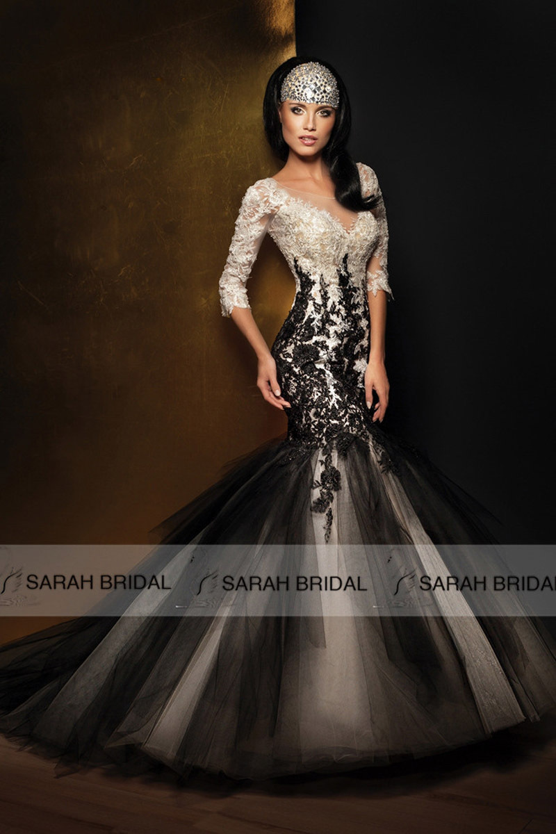 Black lace mermaid wedding dresses for Black mermaid wedding dress