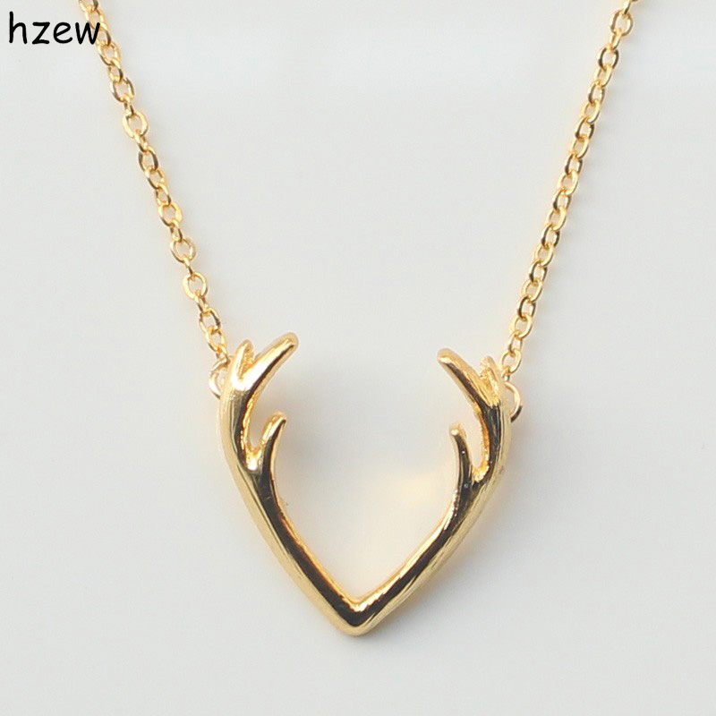 Fashion Deer Horn Antler Necklace Unique Animal Necklace Minimalist Jewelry For Women Cute Pendant Tiny Necklace