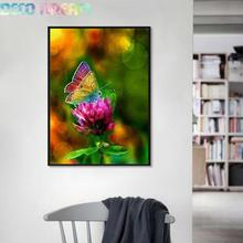 купить Diy Full Round Resin Diamond Painting Embroidery Rhinestones Kit Butterfly With Colorful Flower Mosaic Decor As Good Hobby Gift дешево