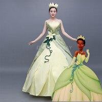 Tiana лягушка наряд для косплея костюмы для женщин Костюм взрослых лягушки фильм Принцесса и лягушка взрослых платье принцессы
