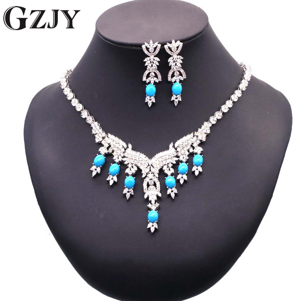 GZJY Gorgeous Zircon Bridal Jewelry Sets White Gold Color Blue Stone Flower Necklace Earrings Sets For Women Wedding Jewelry GZJY Gorgeous Zircon Bridal Jewelry Sets White Gold Color Blue Stone Flower Necklace Earrings Sets For Women Wedding Jewelry