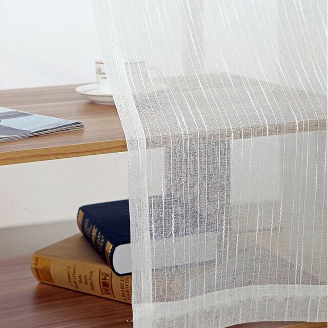 Tiyana Moderno A Righe di Colore Bianco di Tulle Tenda Pura per soggiorno Camera Da Letto Finestra Cortina di Formato Personalizzato Voile Pannello P039D40