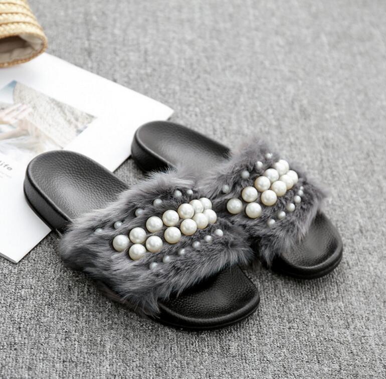 Toe Perle Fille Maison Mode T498 Chaussures Duveteux grey Black Diapositives Design Sandales Plat Femmes Casual Épais pink Babouche Semelle Peep Pantoufle Jeune Mujer zr4Prx
