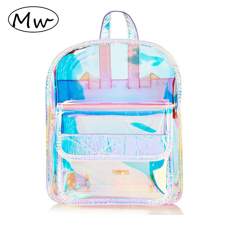 где купить Moon Wood Fashion Hologram Small Laser Transparent Backpack Waterproof PVC Clear Daily Backpack Teenage Girls School Bag Shiny дешево