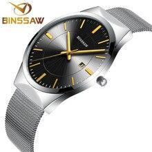 BINSSAW 2016 nuevo ultra-delgado hombre marca de relojes de lujo de cuarzo de malla delicado contrajo negocio hombres de acero inoxidable relojes de moda