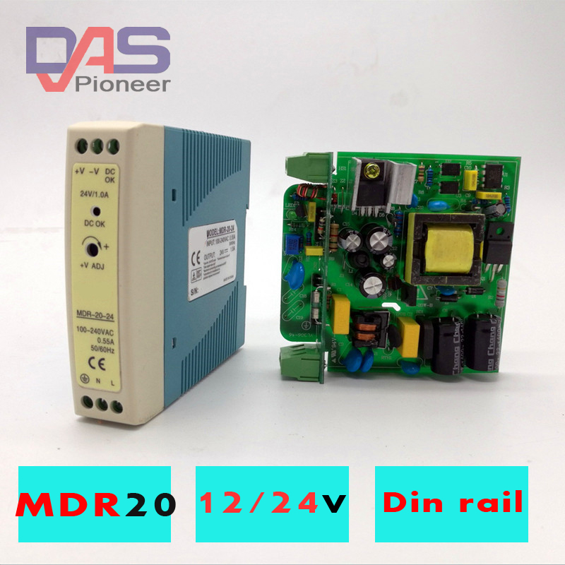 MDR-20 20W Single Output 5V 12V 15V 24V Din Rail Switching Power Supply AC/DC  Ultra-Thin  Din Rail Mounted Power Supply
