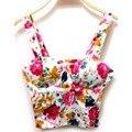 Nova verão mulheres Floral acolchoado Bra Bustier Top Corset Clubwear tanque