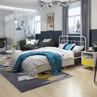 Современная Контрактная железная художественная кровать 1,2 м 1,5 м железная рама кровать двуспальная кровать 1,8 м железная кровать спальня в...