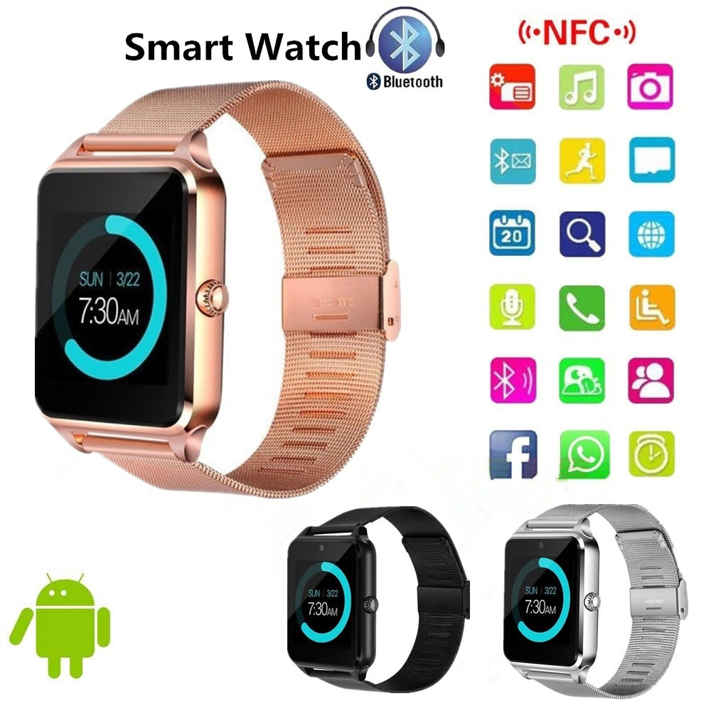 NEW Metal Strap Bluetooth Smart Watch Phone Pedometer Sedentary Remind Sleep Monitor Remote Camera For Android