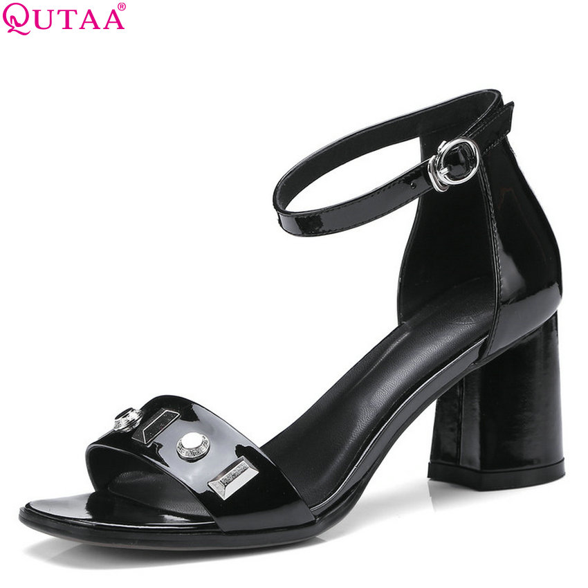 QUTAA 2018 Women Pumps Cow Leather +pu All Match Fashion Elegant Women Shoes Platform Square High Heel Women Pumps Size 34-42 fashion women s pumps with engraving and pu leather design
