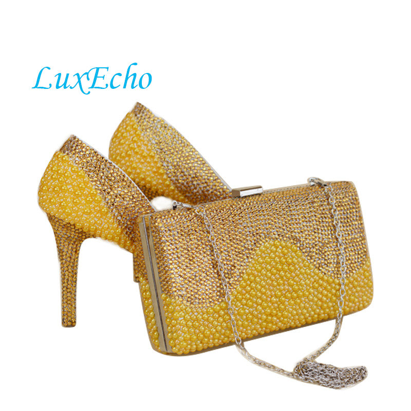 NEW Arrival yellow Gold pearl wedding shoes&purse Sets Crystal women's Pumps High shoes women's party Dress shoes and purse fashin new stunning rhinestone pearl wedding shoes crystal pride pedding high heel pumps dress pearl pregnant pumps shoes