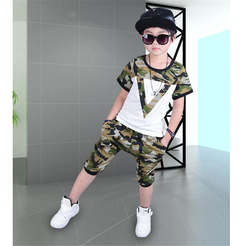 Fashion Summer Boys Childrens Clothing Set Camouflage Short-sleeve T-Shirt+Shorts 2 Piece Sets Kid Casual Sports Suit Sets Hot