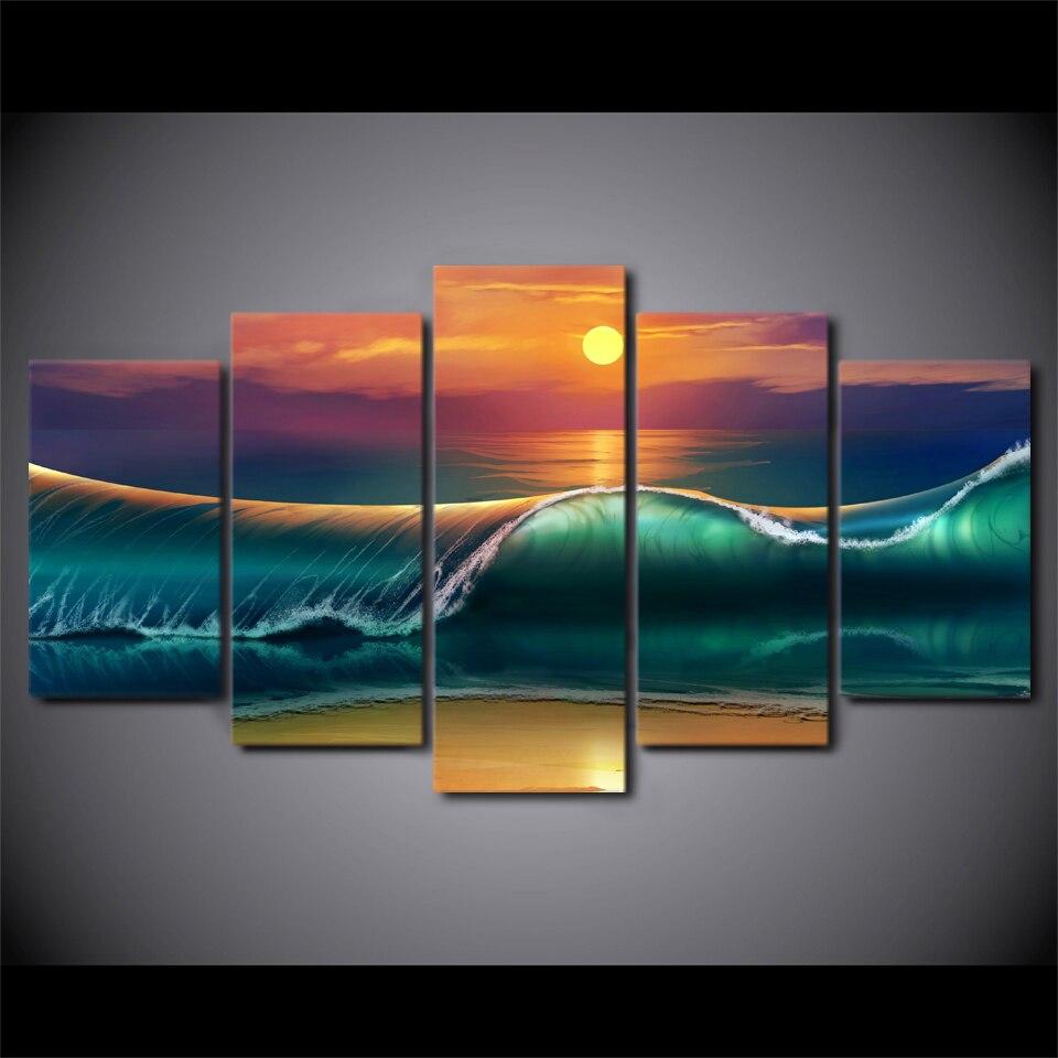 Kumsal duvar boyas rengi ile modern ve k ev dekorasyonu - 5 Adet Tak M Er Eveli Hd Bask L Sunset Beach Dev Dalgalar Tuval Sanat Modern Boyama Posteri