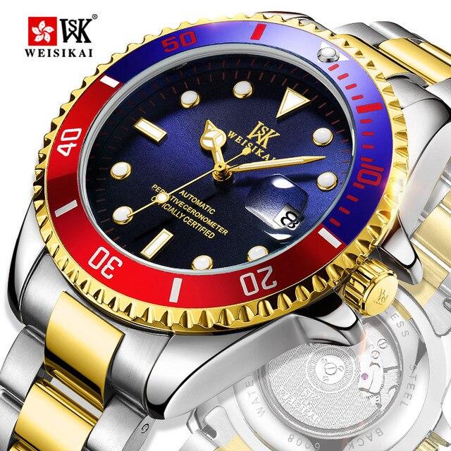 WEISIKAI الرياضة التلقائي ساعة الرجال الغوص ساعات آلية رجالي 200 متر مقاوم للماء ساعة اليد مضيئة الذكور ساعة montre أوم
