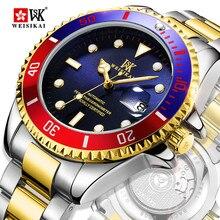 WEISIKAI ספורט אוטומטי שעונים גברים צלילה מכאני שעונים Mens 200 M עמיד למים שעוני יד זוהר זכר שעון montre homme