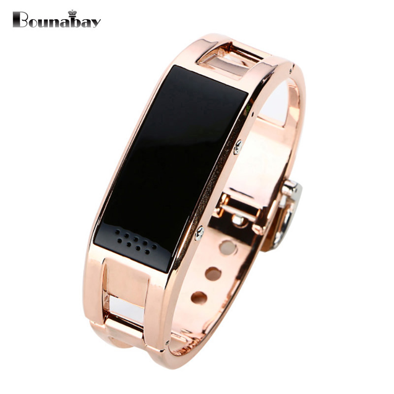 BOUNABAY Smart Sport Multi-function Bracelet watch for women ladies Bluetooth waterproof Android phone woman Rose Gold Clocks vince camuto women s vc 5186chgb swarovski crystal accented gold tone multi function bracelet watch