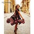 M. H. Артемида Женщины Boho Этническая Народная Распечатать Эластичный Пояс Женщины Старинные Vestidos Хай-лоу Maxi Dress случайные Дамы 2017 летняя мода