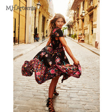 M.H.Artemis Women Boho Ethnic Folk Print Elastic Waist Women Vintage Vestidos Hi-lo Maxi Dress Casual Ladies 2017 summer fashion