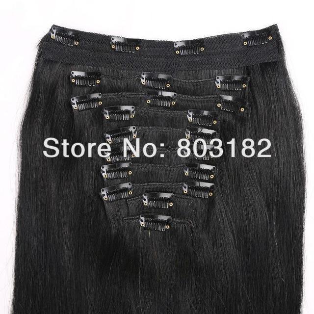 """Yotchoi 14 """" - 24 """" clip en extensiones de cabello humano 10 unids tramas clip en conjuntos 1B # natural negro color de cabello humano recto 140 g - 220 g"""