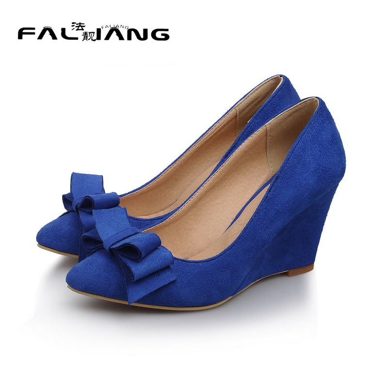 New Flock High Big Size 11 12 women shoes Wedges Pointed Toe woman ladies Butterfly knot Casual Spring Autumn Sweet Single shoes memunia 2017 fashion flock spring autumn single shoes women flats shoes solid pointed toe college style big size 34 47