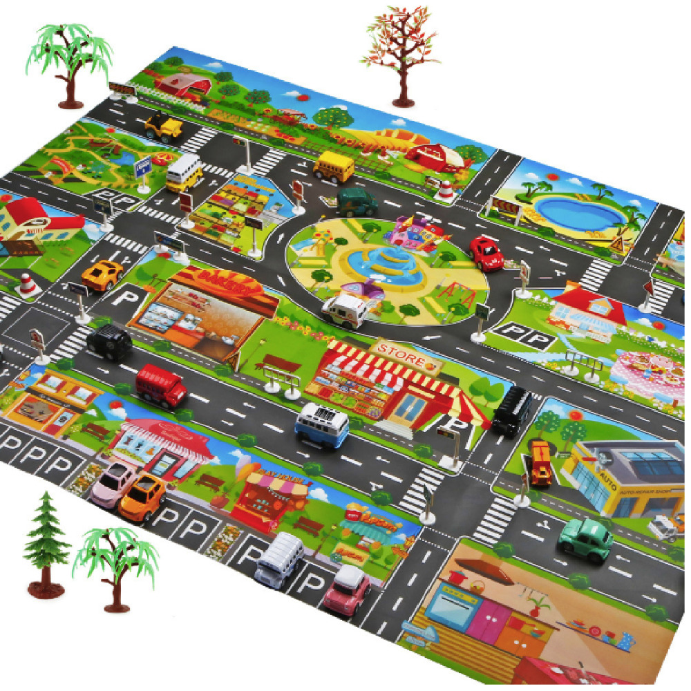 Big Play Mats Traffic Game SET With Roadblock Learn About Transportation Map Toys For Boys Gift