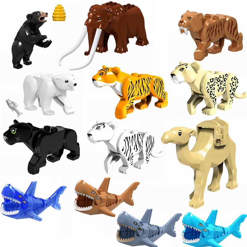 Toys For Building-Blocks Legoing Shark Dinosaur Tiger Animals Camel Elephant Leopard