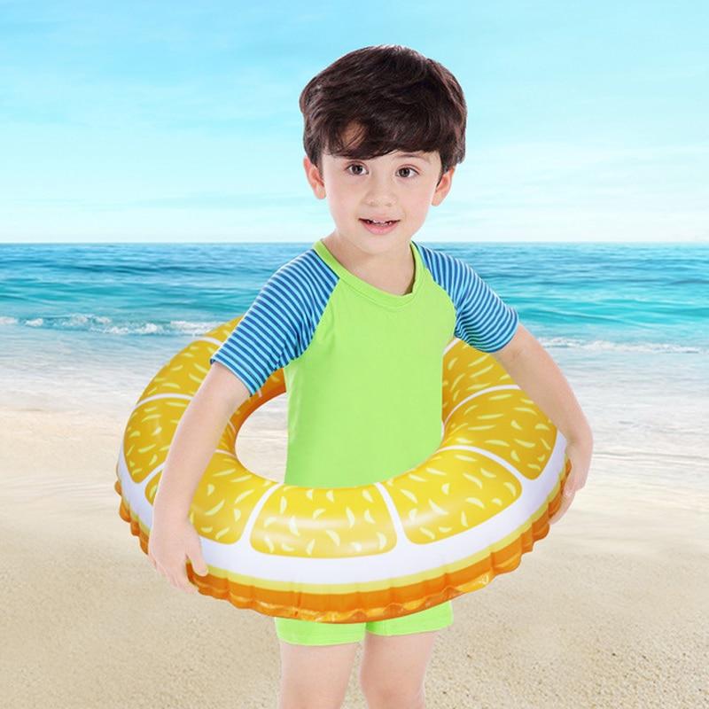 3 Colors Lemon Fruit Baby Swimming Ring Pool Circle Float Colorful Inflatable Childrens swimming laps Buoy Orange Swim Safety