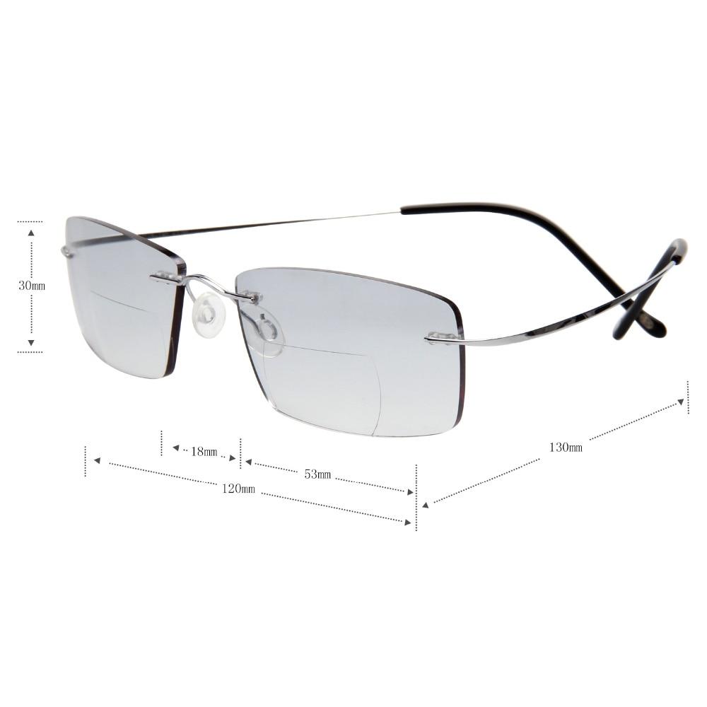 LianSan Mode Vintage Titanium Rimless Kacamata Baca Bifocal Wanita - Aksesori pakaian - Foto 5