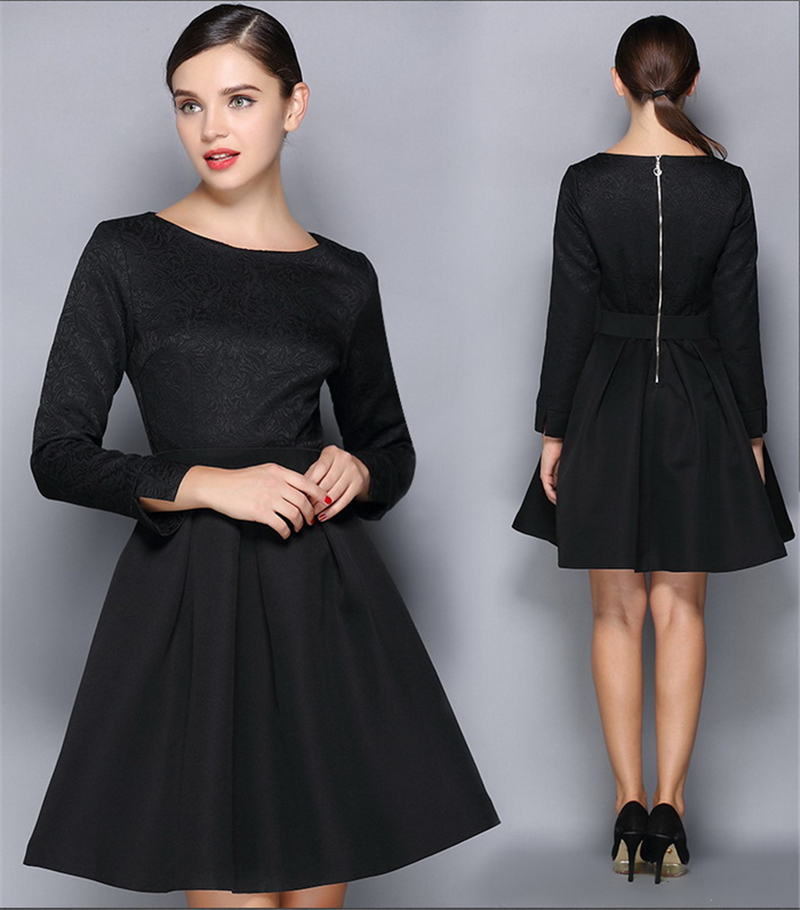 Floral Embroidery Black Lace Pleated Women Princess Dress 2015