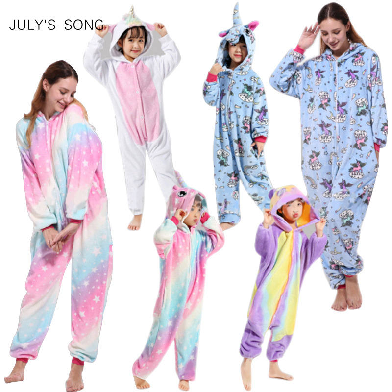 Rosa Einhorn Pyjamas Sets Flanell Kinder Tier Pyjamas Winter Nachtwäsche Kigurumi Zipper Nachtwäsche für Frauen Männer Erwachsene Halloween