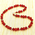 Natural Stone Necklace Carnelian Red Color Agate Stone Bead Necklace Sweater Jewelry Gift Crystal Jewelry