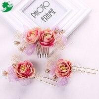 Fashion Crystal Bruids Haar Kam Bloemen Kam Hoofd Stukken Haarspelden Sieraden Accessoires acessorios para cabelo 89329