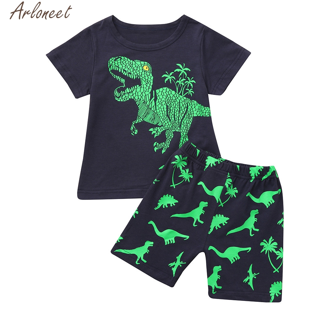 Clothing Sets 1set Summer Casual Children Kid Toddler Cartoon T-shirt Mother & Kids beach Shorts Pants Boys Clothes Summer 0308