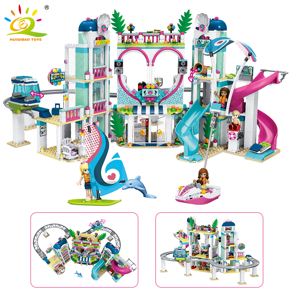 1039pcs Heartlake City Resort Building Blocks Compatible Legoed Friends Girl Figures Park Cable Car Bricks Toys For Children aldeia das águas park resort day use