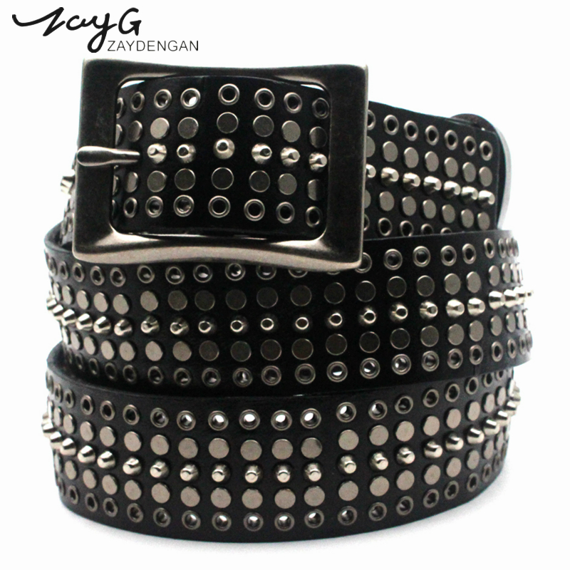 ZAYG Punk Leather Man And Woman Belts Metal Rivets White Black Genuine Leather Belts Fashion Luxury Pin Buckle Leather Straps