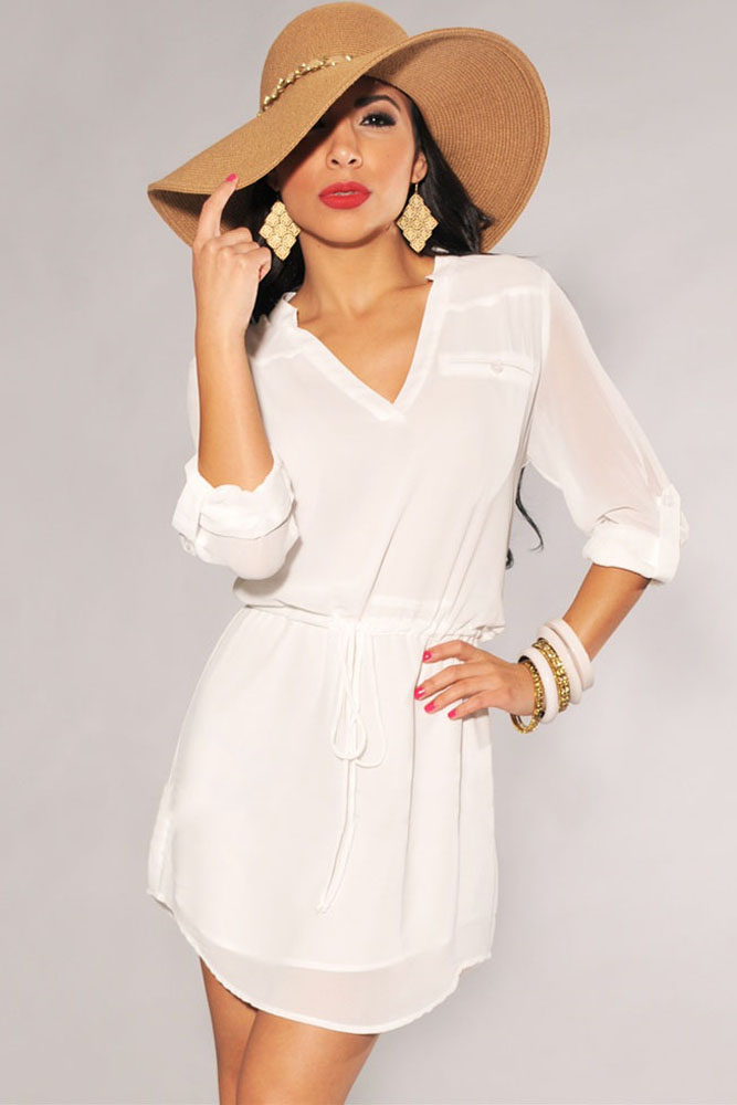 33c6195751dc Sweet Girls Design Casual Belted Shirt Dress Summer Ladies Beach Wear White  Black V Neck Drawstring Tunic Loose Mini Dress 22359-in Dresses from Women's  ...