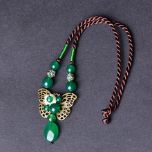 Ethnic style green agate necklace female retro chain s pendant jewelry