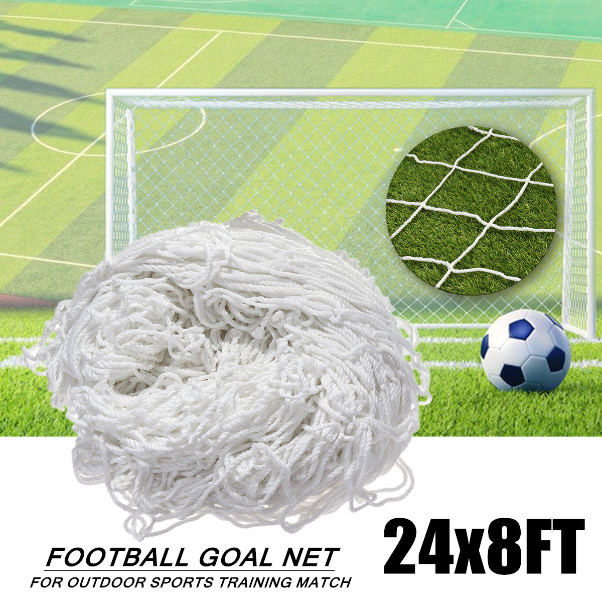 24x8ft Full Size Soccer Football Goal Post Net For Outdoor Sports Training Match Flexible Double Knotted Polypropylene Material24x8ft Full Size Soccer Football Goal Post Net For Outdoor Sports Training Match Flexible Double Knotted Polypropylene Material