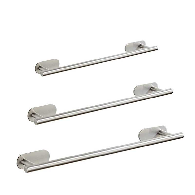 Stainless Steel Bathroom Towel Rack Self Adhesive Wall-Mounted  Bathroom Towel Shelf Holder Balcony Storage Clothes Hanger Shelf