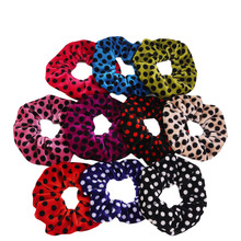 Luxury Velvet hair circle headband round dot Hair Bands Quality Fabrics Rubber Band Multi Colors Loops 10pcs/lot