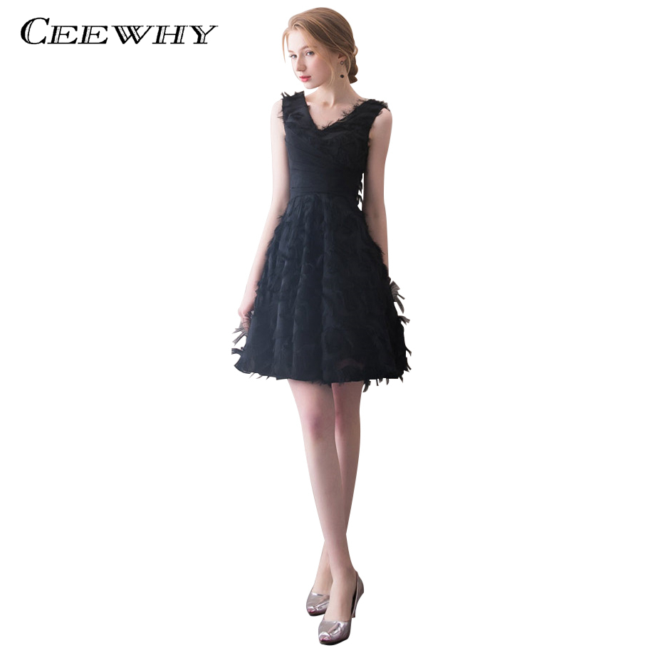 CEEWHY V-Neck Little Black   Dress   Elegant A Line Prom   Dresses   Tassel   Cocktail     Dresses   Vestidos de Coctel Formal   Dress