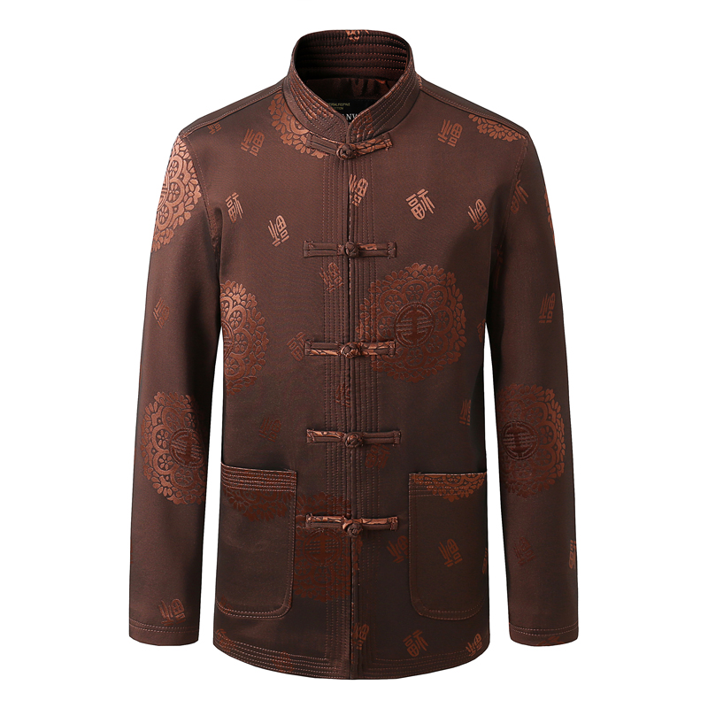Chinese Style Men Mandarin Collar Jacket Suit Man Ethnic Tangzhuang Coats Traditional Mao Kong Fu  Jackets Red Blue Outfits